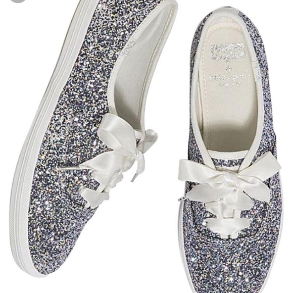 c58ea25bbe77 Kate Spade Silver Multi Glitter Keds